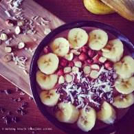 Choc, hazelnut & maca smoothie bowl https://naturalhealthconsciousliving.com/2015/03/05/choc-hazelnut-maca-coconut-smoothie-bowl/