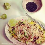 Asian mung bean noodle salad https://naturalhealthconsciousliving.com/2015/04/23/asian-mung-bean-noodle-salad-with-ginger-tamari-dressing-vegan-gf/