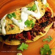 Chickpea crepes with lentil filling https://naturalhealthconsciousliving.com/2015/06/14/chickpea-crepes-with-lentil-filling-green-tahini-sauce-vegan-gf/