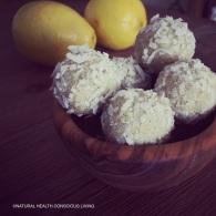 Zesty lemon balls https://naturalhealthconsciousliving.com/2016/03/24/zesty-lemon-coconut-balls-raw-gf/
