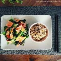 Asian salmon & seaweed salad https://naturalhealthconsciousliving.com/2016/04/29/asian-salmon-seaweed-salad-gf-df/