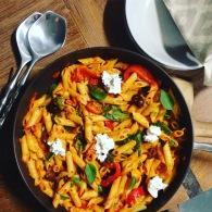 Creamy sundried tomato sugo pasta https://naturalhealthconsciousliving.com/2017/03/22/creamy-sun-dried-tomato-sugo-pasta-with-roasted-peppers-kalamata-gf/