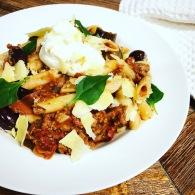 Vegetarian eggplant + olive ragu https://naturalhealthconsciousliving.com/2018/07/13/vegetarian-eggplant-olive-ragu/